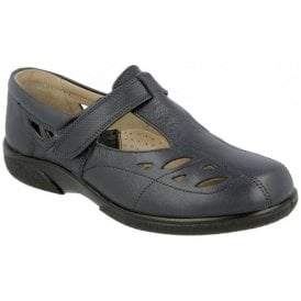 Womens Flavia T-Bar Shoes With Cutouts In Navy 78333N EE-4E (2V)