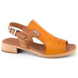 Womens Yellow Leather Buckle-Up Sandals 5-17