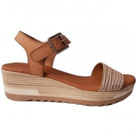 Womens Nude Buckle-Up Sandals 49-8605