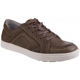 Mens Cheltenham Brown Leather Lace-Up Trainers