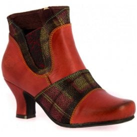 Womens Candice 02 Rouge Zip Up Heeled Ankle Boots