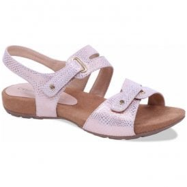 Womens Carina Rose Gold Reptile Velcro Sandals 9-28107-20 569