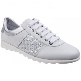 Womens Champy Diamante White/Silver Lace-Up Casual Shoes