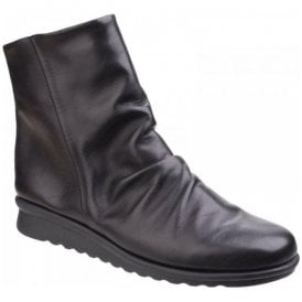 Womens Pan Fried Black Leather Ruched Boots