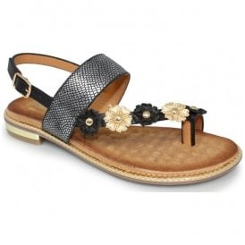 Womens Bianca Black Toe-loop Sandals JLH906 BK