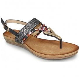 Womens Aries Black Toe Post Fashion Sandals JLH901 BK