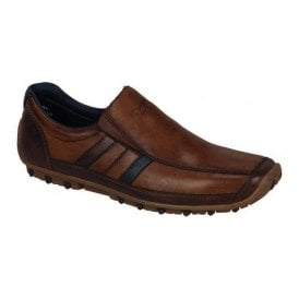 Bologna Brown Combination Leather Slip On Shoes 08972-25