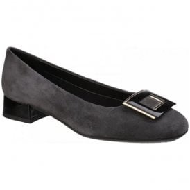 Womens Long Jump Black Suede Court Shoes