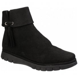 Women Tellable Black Nubuck Casual Ankle Boots