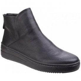 Womens Sneak On Over Black Platform Ankle Boots