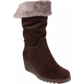 Womens Pick A Fur Brown Suede Mid-Calf Boots