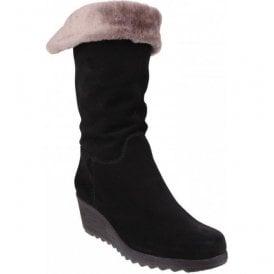 Womens Pick A Fur Black Suede Mid-Calf Boots