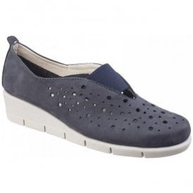 Womens Paranoia Navy Nubuck Wedge Shoes