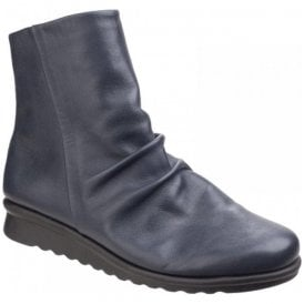 Womens Pan Fried Navy Leather Ruched Boots