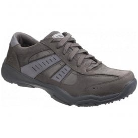 Mens Relaxed Fit Larson Nerick Charcoal Leather Trainers 64833