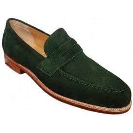 Mens Jevington Green Suede Slip-On Loafers
