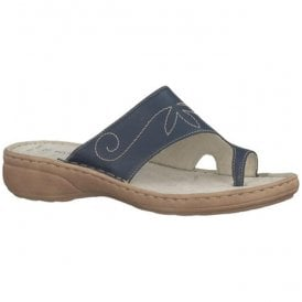 Womens Navy Toe Loop Mules 2-2-27900-20 805
