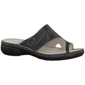 Womens Black Toe Loop Mules 2-2-27900-20 001