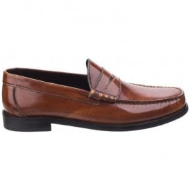 Mens Strike Hi-Shine Tan Leather Penny Loafers