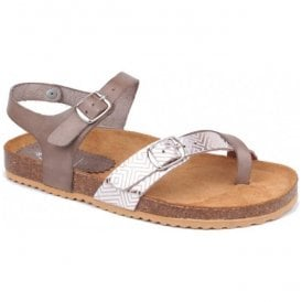 Womens Taupe/Beige Strap-Over Leather Sandals 1518 B7 B28