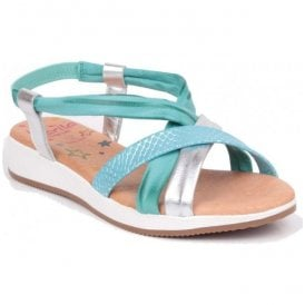 Womens Turquoise/Silver/Beige Leather Sandals 1104 ES 61