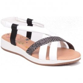 Womens White/Black Scales Leather Sandals 1104 ES 61