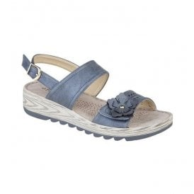 Womens Metallic Blue Twin Strap Velcro/Buckle Sandals L5055C