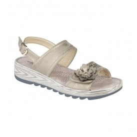 Womens Metallic Gold Twin Strap Velcro/Buckle Sandals L5055BG