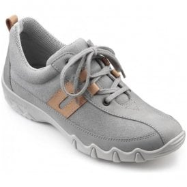 Womens Leanne Extra Wide Pebble Grey Multi Suede/Nubuck Lace Up Shoes