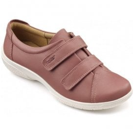 Womens Leap Extra Wide Salmon Leather Velcro Shoes