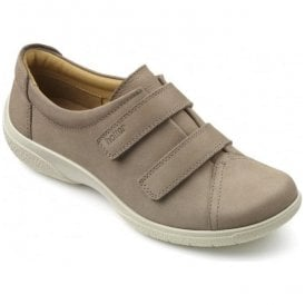 Womens Leap Extra Wide Truffle Nubuck Velcro Shoes