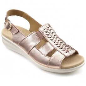 Womens Candice Extra Wide Rose Gold Leather Slingback Sandals