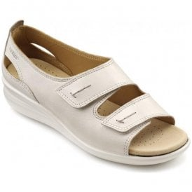 Womens Florence Extra Wide Soft Beige Leather Velcro Sandals