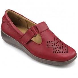 Womens Sunset Extra Wide Tango Red Leather Velcro Shoes