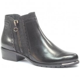 Womens Kelli Black Leather Ankle Boots 9-25403-29 019