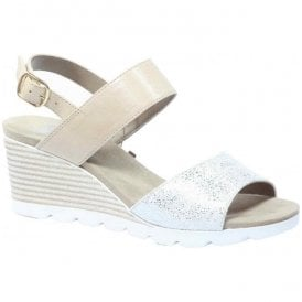 Womens Elena Beige Combi Sling Back Wedge Sandals 9-28701-28 405