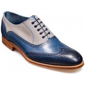 Mens Lennon Navy Painted/Grey Canvas Oxford Brogue Shoes