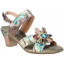 Womens Bettino 11 Grey Floral Slingback Sandals