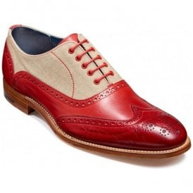 Mens Lennon Red Painted/Beige Canvas Oxford Brogue Shoes