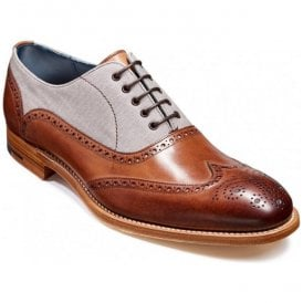 Mens Lennon Brown Painted/Grey Canvas Oxford Brogue Shoes