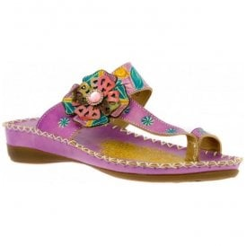 Womens Brive 80 Lilac Floral Toe Loop Sandals