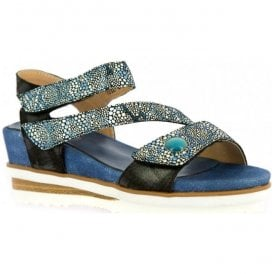Womens Dieze 03 Black/Blue Leather Sandals