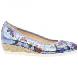 Womens Epworth Blue Floral Slip On Wedge Shoes 82.641.83