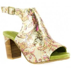 Womens Bernie 20 Gold Floral Leather Sandals