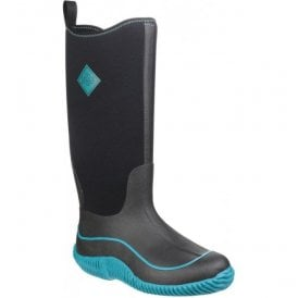 Womens Hale Black/Blue Pull On Wellington Boots