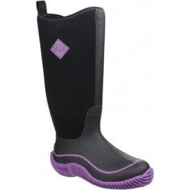 Womens Hale Black/Purple Pull On Wellington Boots