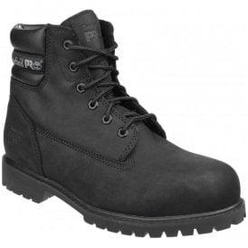 Mens Traditional Wide Black Lace-up Safety Boots