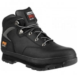 Mens Euro Hiker Black Lace-up Safety Boots