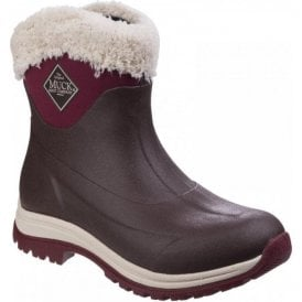 Womens Arctic Apres Maroon Slip-On Casual Winter Boots