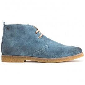 Mens Perry Blue Burnished Suede Desert Boots
